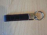 Брелок хлястик Seat 117мм черный логотип красный эмблема Сеат автомобильный на авто ключи коже заменитель, фото 4