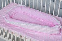 """Кокон-гнездышко для новорожденного""""Розовый зиг-заг"""""""