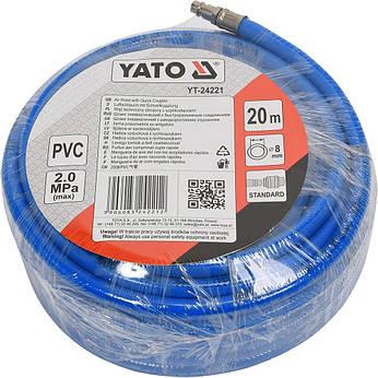 Армированный пневматический шланг для компрессора 8мм 20 метров YATO YT-24221, фото 2