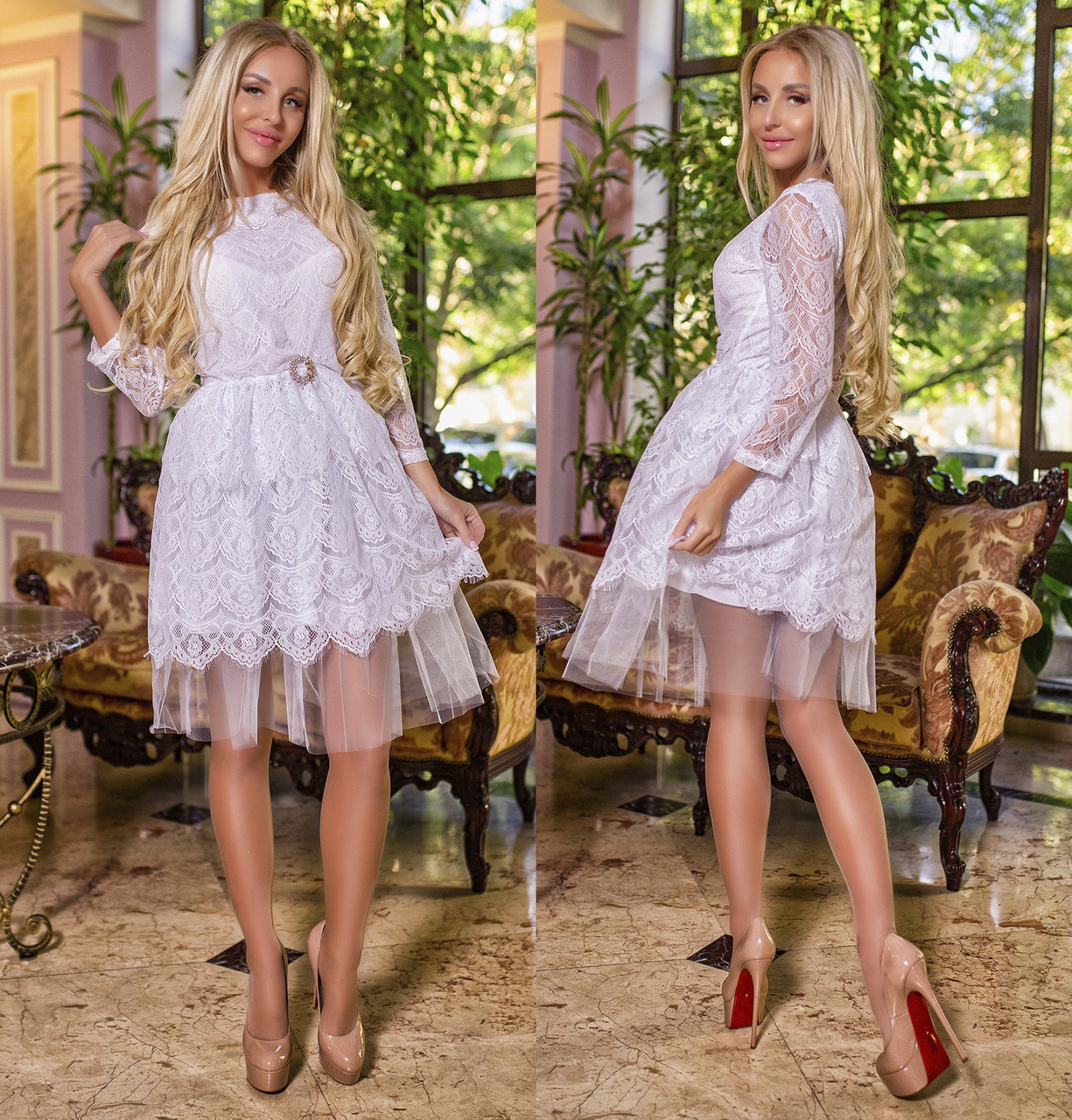 1708d020b77 Женское элегантное платье из гипюра с фатином в расцветках. ПН-21-1117 -