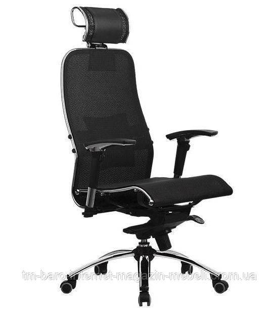 Кресло Самурай С3 плюс, сетка, черный. Samurai S3 Black Plus