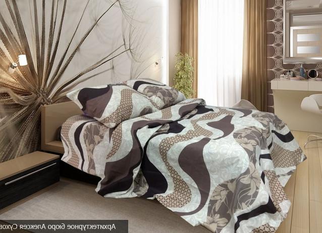Комплект постельного белья евро Морская волна коричневая