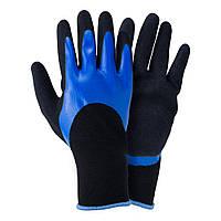 Перчатки трикотажные с двойным нитриловым покрытием р10 (сине-черные манжет) Sigma (9443681)