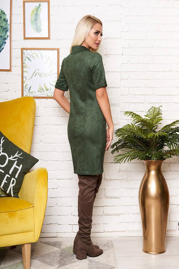 Красивое платье рубашка под замш с коротким рукавом зеленое, фото 2