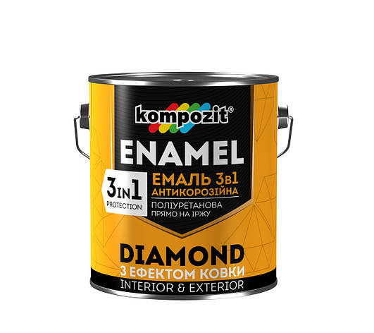 Емаль 3 в 1 з ефектом ковки Diamond КОМПОЗИТ срібляста 0,65 л   /8шт/, фото 2