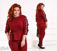 Женский костюм брюки и блузка, креп дайвинг, кружево