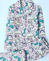 Женская Пижама.Одежда для сна.Пижама единорог.Жіноча піжама.Одяг для сна і дому XS, розовый