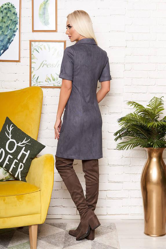 Красивое платье рубашка из замши с коротким рукавом серое, фото 2