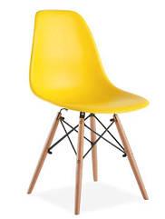 Стул Тауэр Вуд желтый пластик, ножки дерево (Прайз), Eames