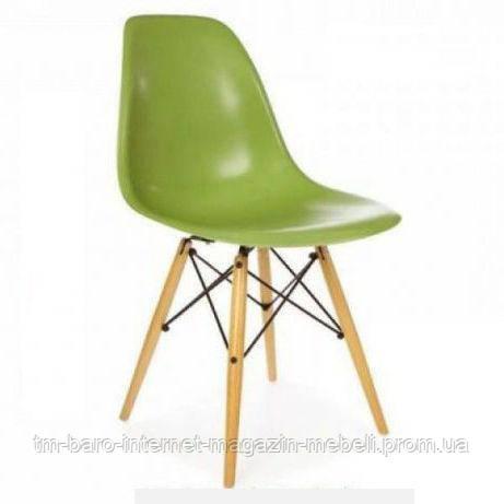 Стул Тауэр Вуд зеленый пластик, ножки дерево (Прайз), Eames