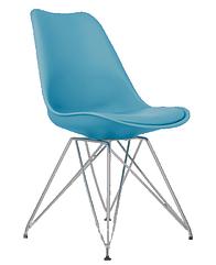 Стул Тауэр С голубой пластик+подушка, ножки хром (Прайз), Eames