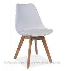 Стул Тор белый пластик, ножки дерево (Прайз), Eames