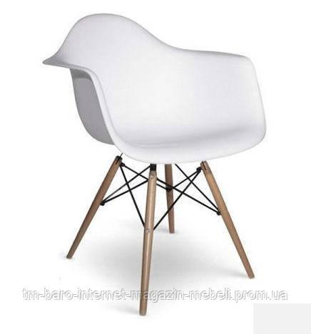 Кресло Тауэр Вуд, белый пластик, бук (Прайз), Eames