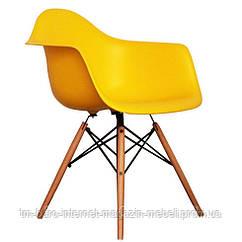 Кресло Тауэр Вуд, желтый пластик, бук (Прайз), Eames