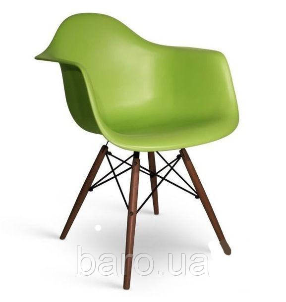 Кресло Тауэр Вуд, зеленый пластик, бук (Прайз), Eames
