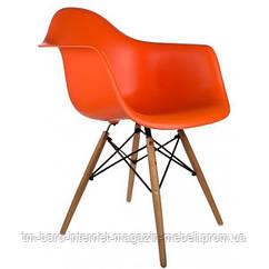 Кресло Тауэр Вуд, оранжевый пластик, бук (Прайз), Eames