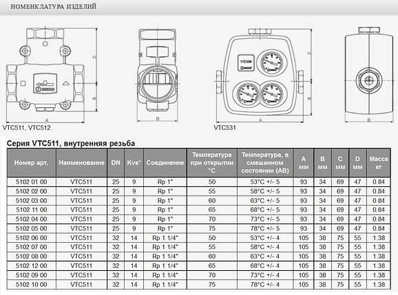 """Трехходовой термостатический клапан ESBE VTC 511 1 1/4"""", фото 2"""