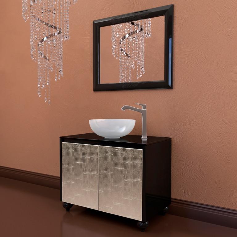 Тумба подвесная для ванной комнаты Marsan Penelope 900 в цвете фасад серебро/золото