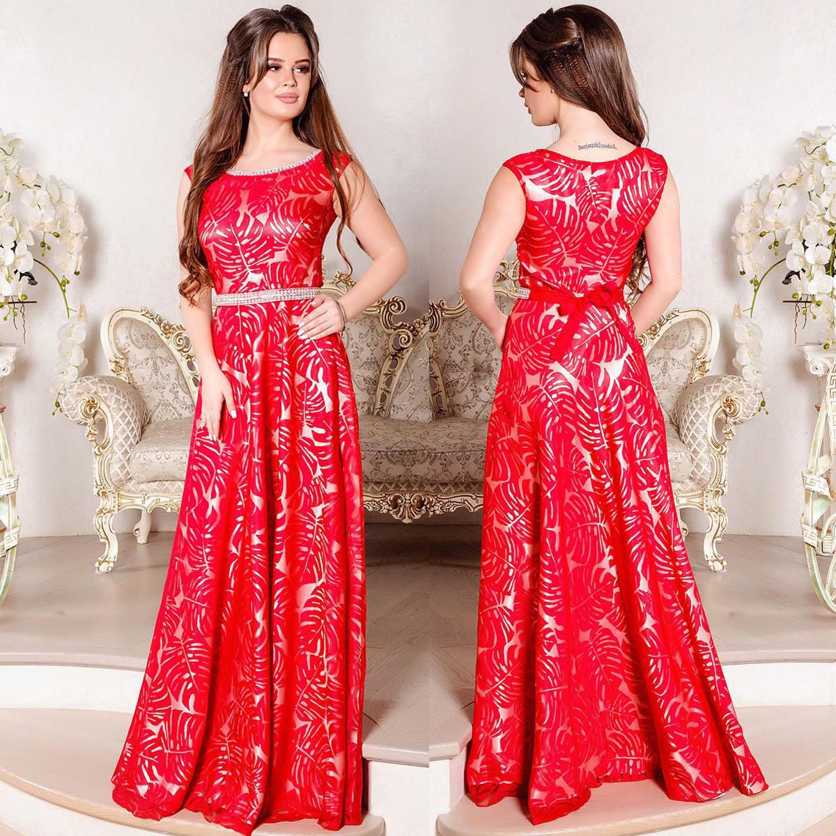 """Вечернее длинное платье красного цвета """"Монтерини"""""""