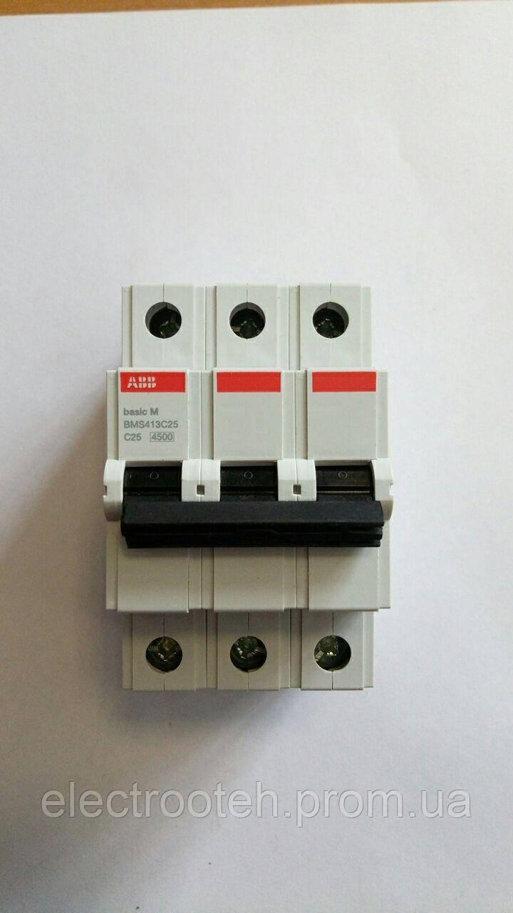 Автоматический выключатель ABB (3Р, 25А, C) 4.5кА