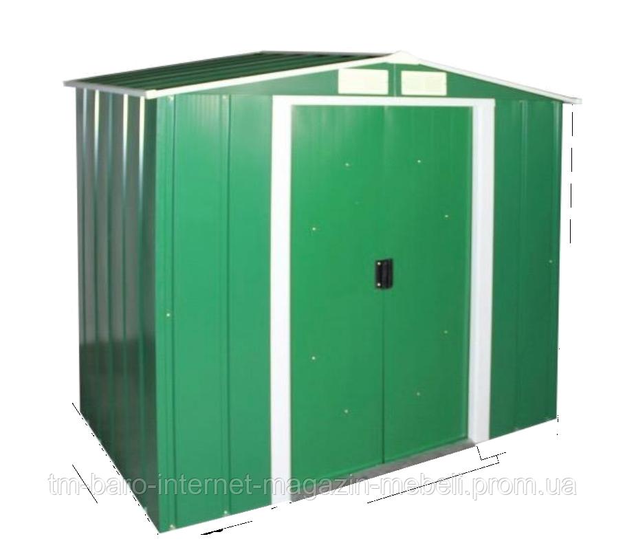 Сарай металлический ECO зеленый с белым 202x182x181cм, DURAMAX