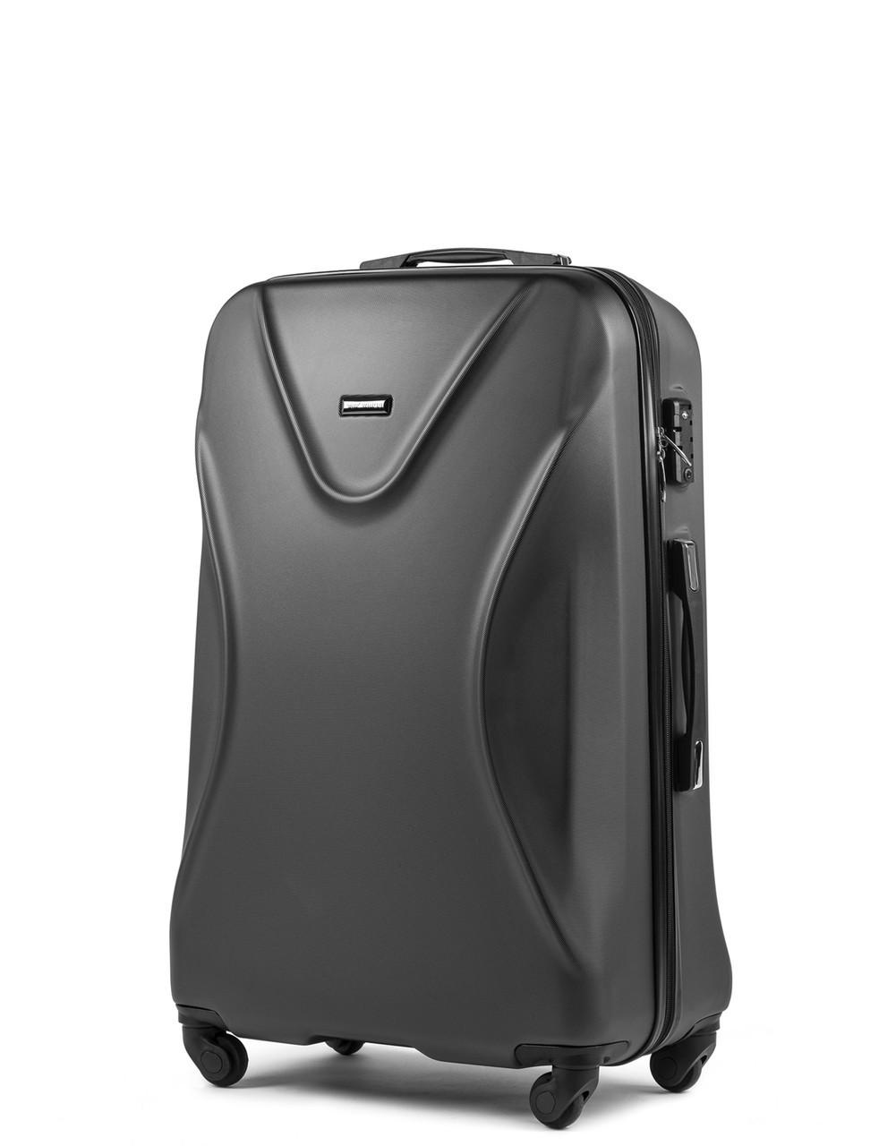 Большой пластиковый чемодан Wings 518 на 4 колесах серый