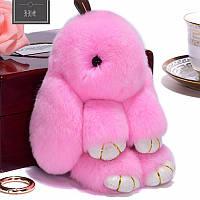 Меховой брелок на сумку зайчик, кролик,помпон розовый