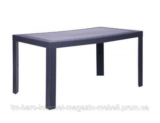 Стол пластиковый Urano 140х80 (Урано) под ротанг, антрацит