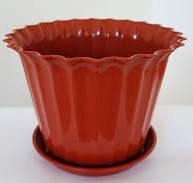 Цветочный горшок Астра с подставкой  Терракотовый в диаметре  17 см объёмом 1,05 литра