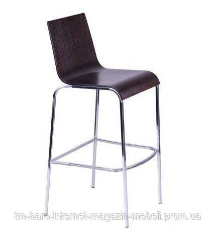 Барный стул Порто Хокер хром, темный орех