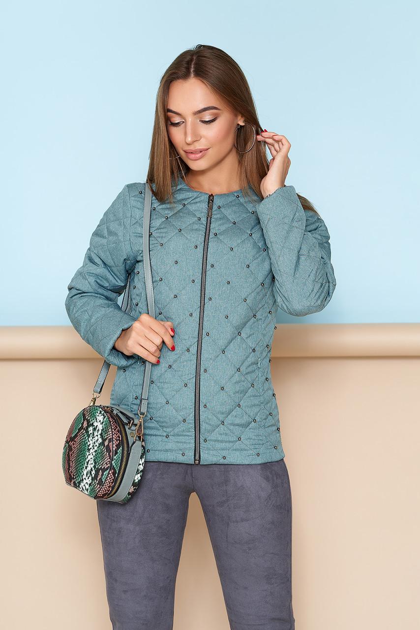 Короткая куртка на весну женская зеленая