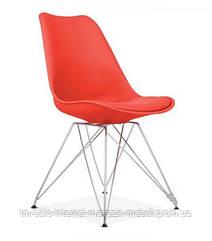 Стул Тауэр С красный пластик+подушка, ножки хром (Прайз), Eames