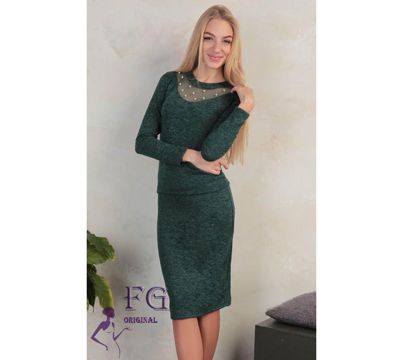 """Красивый женский костюм-двойка """"Frida"""" из ангоры, юбка-карандаш и кофта с бусинами и сеткой, зеленый"""