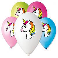 """Воздушные шары Gemar с рисунком 12"""" - 30 см ( Единорог голова  )"""