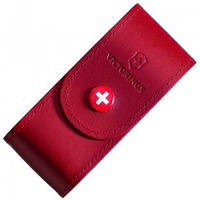 Чохол для ножа Victorinox (84-91 мм, 5-8 шарів) на кнопці, шкіряний, червоний 4.0521.1