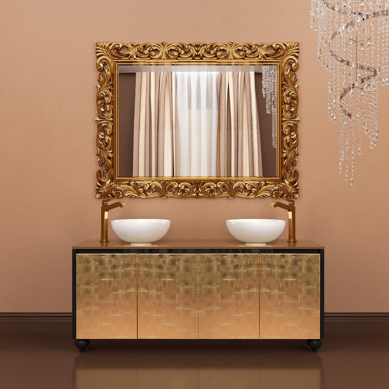 Тумба напольная для ванной комнаты Marsan Penelope 1600 в цвете фасад античное золото/серебро