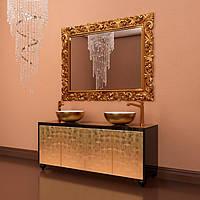 Тумба подвесная для ванной комнаты Marsan Penelope 1600 в цвете фасад античное золото/серебро