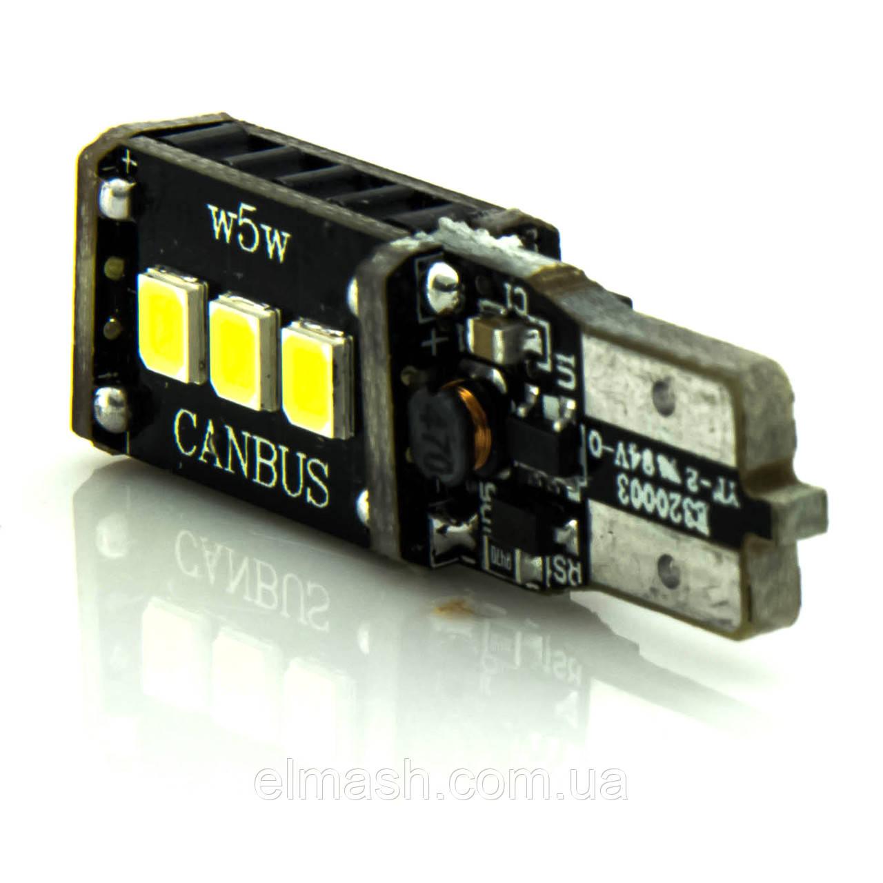 Лампа LED 12V T10 (W5W) 9SMD 2835 обманка 450Lm БЕЛЫЙ