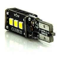 Лампа LED 12V T10 (W5W) 9SMD 2835 обманка 450Lm БЕЛЫЙ , фото 1