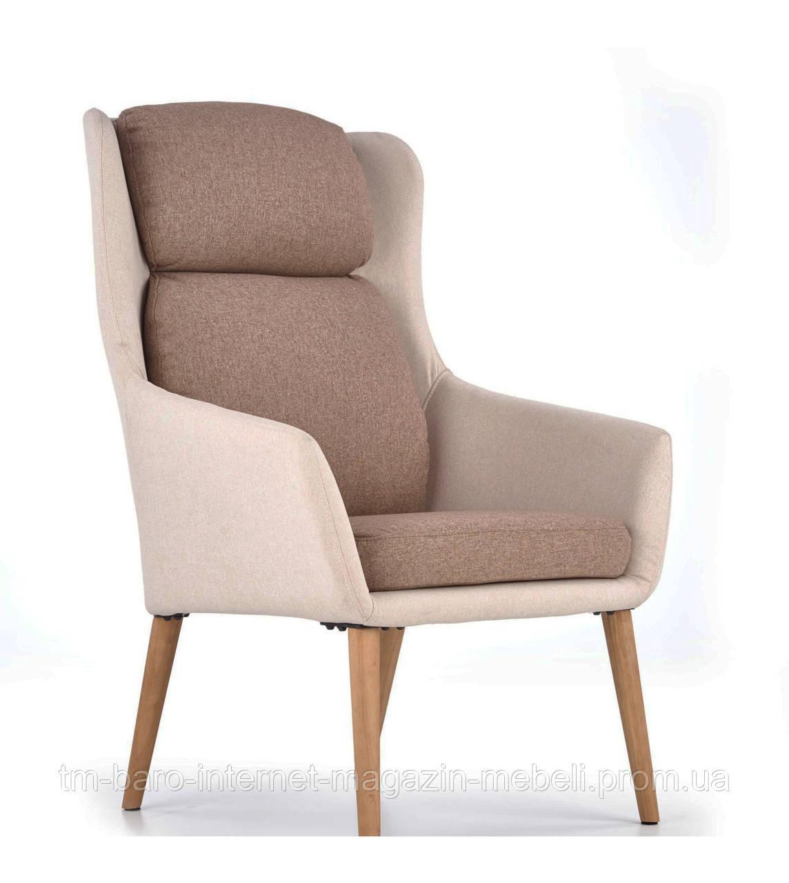Кресло Purio (Пурио) бежево-коричневый, ткань, Halmar