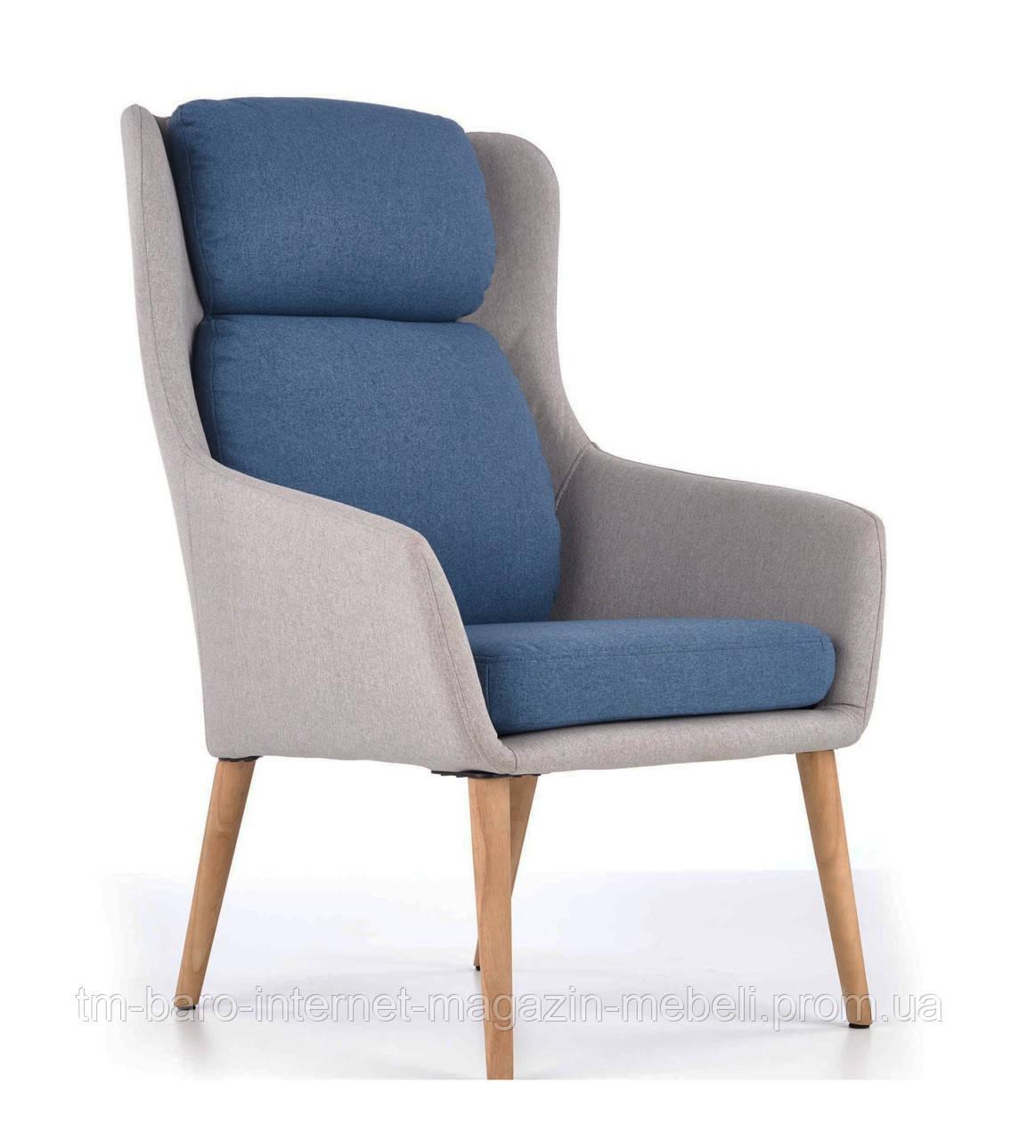 Кресло Purio (Пурио) светло-серый/синий, ткань, Halmar