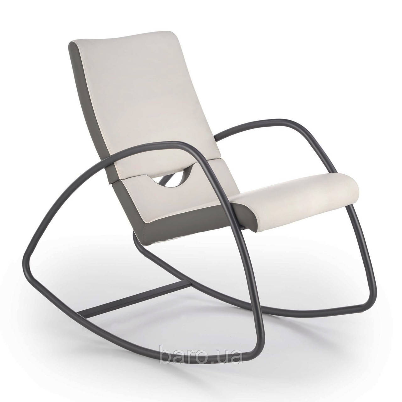 Кресло-качалка Balance (Баланс) серо-белый, экокожа, Halmar
