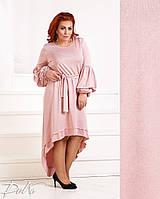 a7eb002b60ac Женское асиметричное платье под пояс из турецкого трикотажа с люрексовой  нитью 50 52, 54