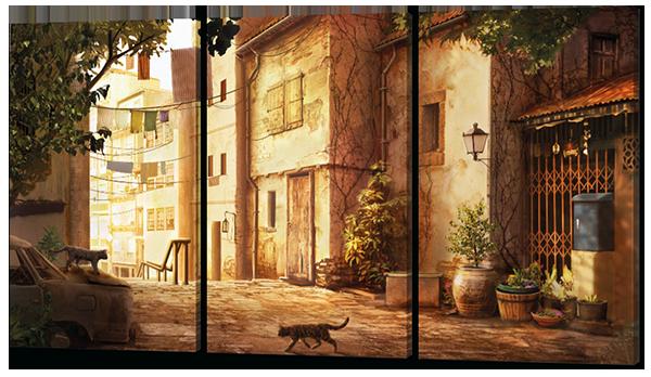 Модульная картина Interno Эко кожа Старинный переулок 124x70см (А351L)