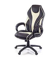 Кресло офисное на колесиках Мурано PL TILT черно-бежевого цвета из экокожи