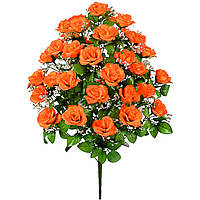 Букет раскрытых роз с гипсофилой, (36 бутонов), 67 см.