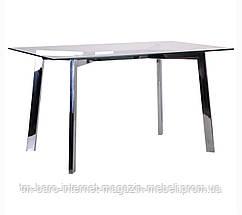Стол Луиджи DT-1610 хром/стекло прозрачное