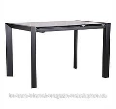 Стол обеденный раскладной Санторини черный/стекло, антрацит