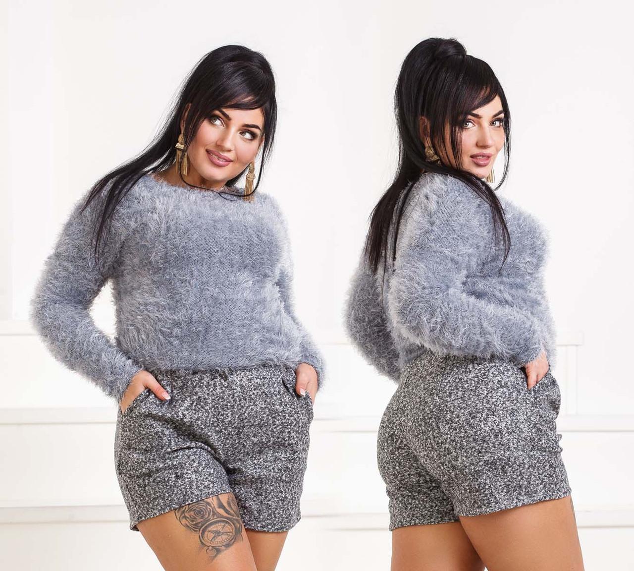 """Стильные женские шорты в больших размерах 510-1 """"Букле Мрамор"""" в расцветках"""