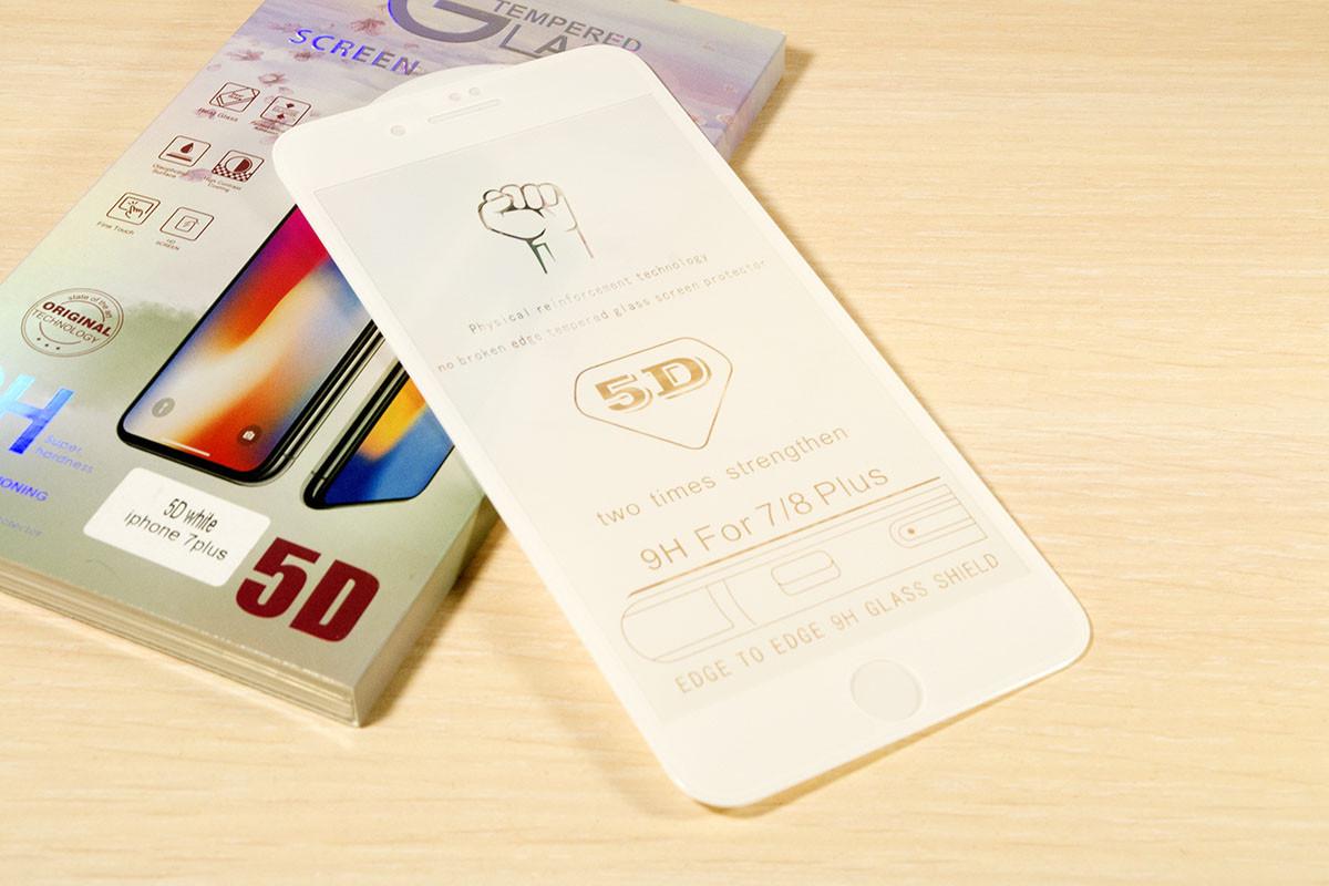 Защитное стекло 5D для iPhone 7 Plus / 8 Plus (White)